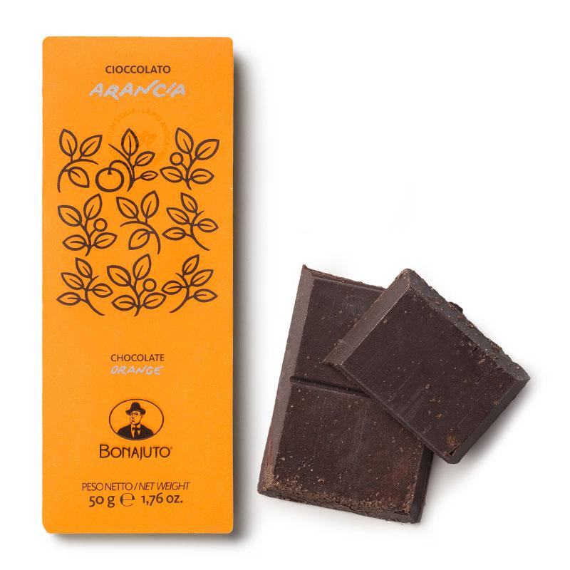 Bonajuto Modica chocolate bar with orange BCA18 Antica dolceria Bonajuto